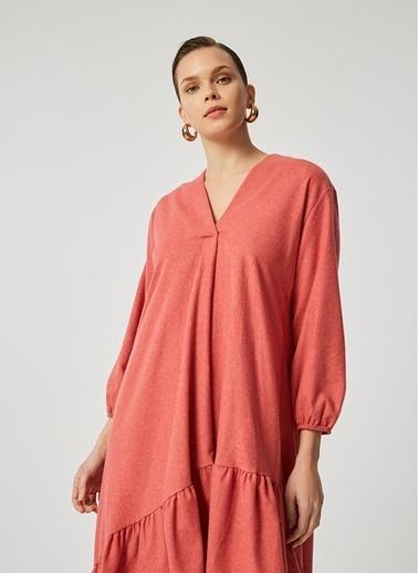 Monamoda Eteği Volanlı Elbise Somon